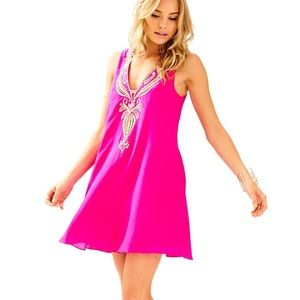 Lilly pulitzer hot pink silk gold embellishments